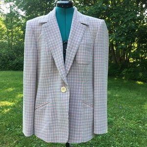 Vintage ANNE KLEIN II Wool Blend Tattersall Blazer
